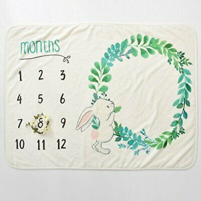 "Monthly Milestone Blanket Unisex Hand-Illustrated Rabbit Design. 40"" X 60"""