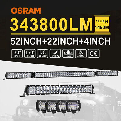 "52"" Folding LED Light Bar +22"" Spot Flood +4inch Work Pods Offroad Driving 4WD"