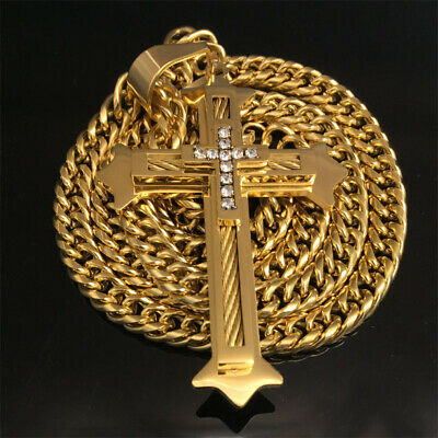 TOP Quality Big Size Gold 316L Christian Stainless Steel Cross Pendant Necklace