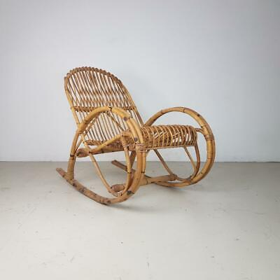 VINTAGE 1970s FRANCO ALBINI STYLE RATTAN ROCKING CHAIR MIDCENTURY GARDEN #2652