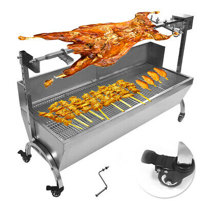 """Stainless Steel,Rotisserie Spit 46"""" Large,BBQ,Pig,Lamb,Goat,Chicken Spit Roaster"""