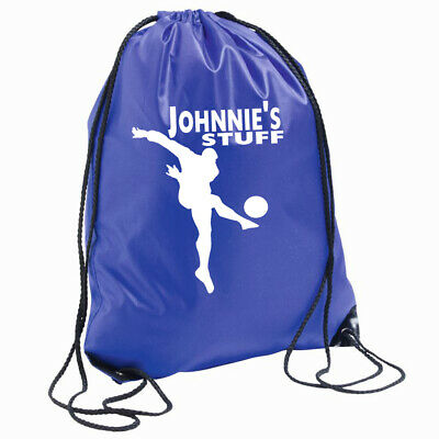 Personalised Football Bag Drawstring Backpack Gymsac PE School Games Lunch Boots