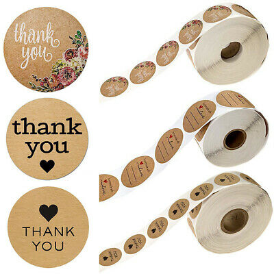 500Pcs/Roll Thank You Kraft Stickers Package Label Sealing Tag Wedding Decor
