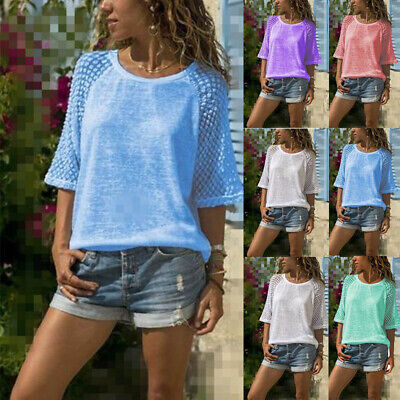 Plus Size 6-24 Womens Lace Floral T-Shirt Ladies Summer Casual Loose Tops Blouse