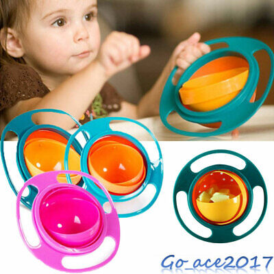 Baby Kids Non Spill Gyro Feeding Toddler Bowl 360° Rotate Avoid Food Spilling UK
