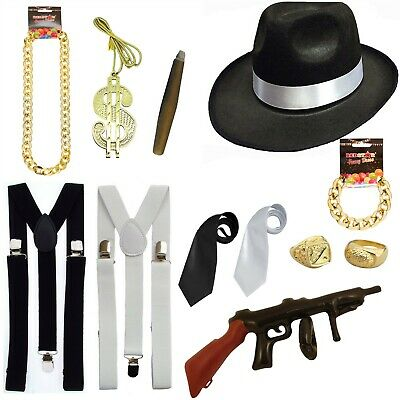 082112124 DELUXE 1920S GANGSTER Pimp Adult Fancy Dress Costume Accessories - Choose  Items
