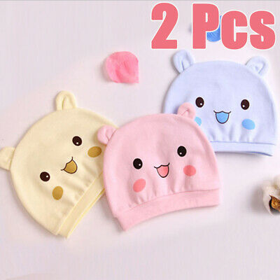 2 Pcs Cartoon Baby Hat Cotton Newborn Caps Infant Baby Lovely Cute Smiley Kids
