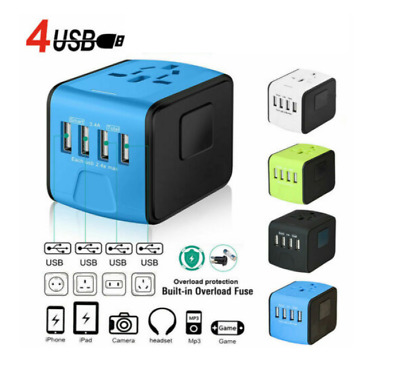 International Universal Travel Adapter 4 USB 2.4A Charger AC Power AU IN STOCK