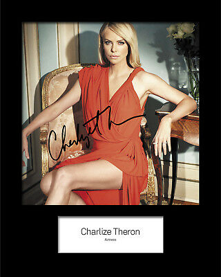 FREE DELIVERY Reprint CHARLIZE THERON #1 Signed 10x8 Mounted Photo Print
