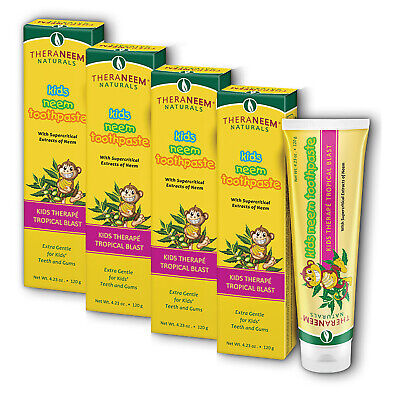 Organix South Kids Neem Toothpaste, Tropical Blast Vegan, Paste 4.23oz-FOUR PACK