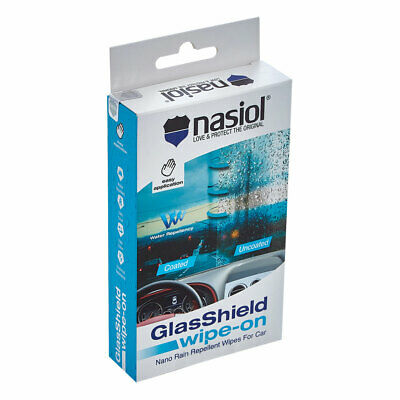 Nasiol GlasShield Wipe-On Water Repellent Wipes for Windshields