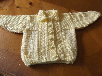 Brand New Hand Knitted Baby Girls  Lemon Aran Cardigan With Collar