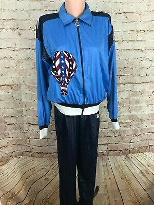 Fila Women's Track Suit Blue/White With United States Red,White,Blue on Back Med