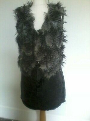NEXT Faux fur gilet waistcoat UK 14 grey black fluffy hippie boho festival
