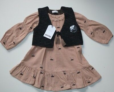 Next - Bunny Rabbit Embroidered Dress Gilet Set Outfit - Baby Girl 6-9 Months