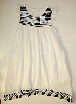 Next White Floral Lace Embroidered Cotton Tassels Maxi Mono Dress Girls 13 Years