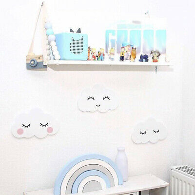 Nordic Lovely Wooden Cloud Moon Ornament Wall Sticker Kids Room Decoration Opule