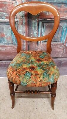 Antique balloon back chair, newly upholstered in an original design fabric