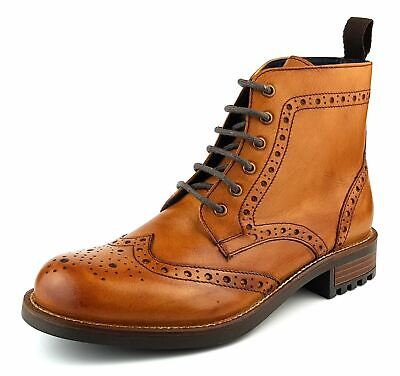 Frank James Camden Real Leather Lace Up Brogue Mens Boots Tan