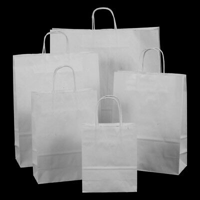 100x White Kraft Gift Party Paper Bags with Twisted Handles - 32cm x 41cm x 12cm