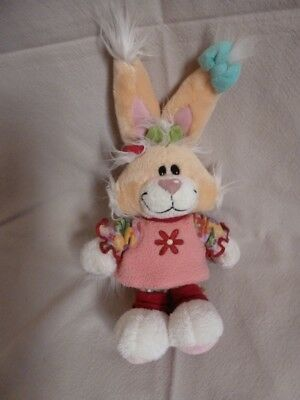 Peluche Doudou Diddl Lapine Mimihopps Robe rose hiver TBE 25cm