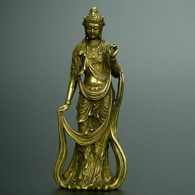 Chinese old collection handwork bronze Guanyin Bodhisattva pocket statue