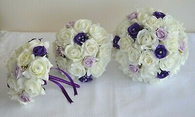 Wedding bouquet in PURPLE LILAC. Buttonhole, Corsage, flower wand, bride, groom