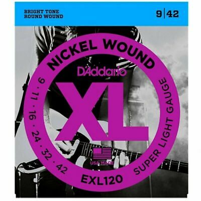 D'Addario EXL120  Super Light Electric Guitar Strings gauge 9 - 42  EOFY Sale