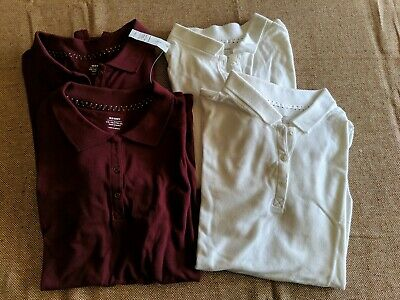 Lot Of 4 Uniform Polo Shirts Old Navy Maroon and White Size XXL (16) Girls