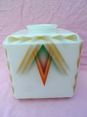 "Large French? Period Art Deco White Glass Ceiling / Lamp Shade 8"" Cube Deposee"