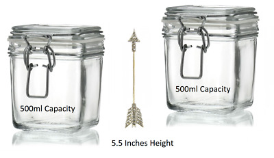 2x Luxury Glass Preserving Jars Quality Swing Top Lid Storage Container Spice