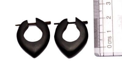 A Pair of Black Organic Stick Wood Traditional Ebony Wooden Earrings SEW_53