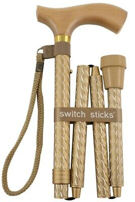 Soiree Folding Walking Stick from Switch Sticks - Pearl Gold
