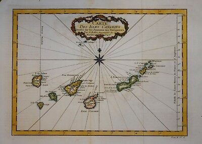 Carte Des Isles Canaries By Bellin Dated 1746