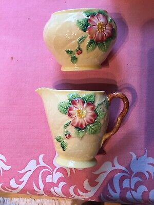 Carlton Ware Wild Rose Yellow Creamer Saucer and Sugar Bowl c 1935-1951