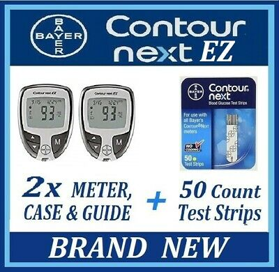 2x New BAYER CONTOUR NEXT EZ Meters, Cases, Guide & 50ct TEST STRIPS Exp 2020+