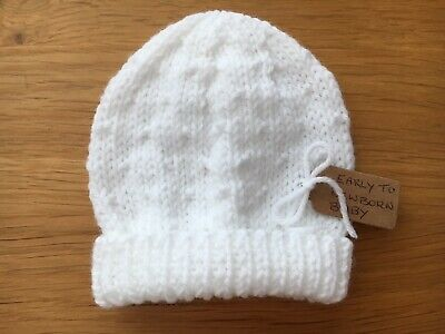 White Early / Newborn Baby Girl / Boy's Hat Hand Knitted In Sirdar Snuggly