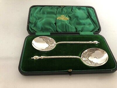 "Vintage Cased Pair Of Highly Decorated Silver Plated Jam Spoons 5.75"" Long"