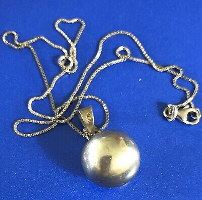 """Taxco Mexico Sterling Silver 925 Ball Jingle Chime Pendant + 18"""" Sterling Chain"""