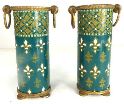 Pair Antique Late 19Th Century French Pottery Spill Vases Fleur De Lis