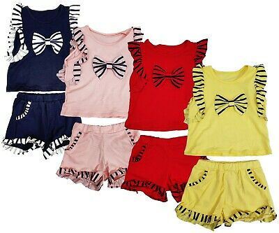 Girls Kids Frill Summer Bow Shorts & Top 2 Piece Set Outfit Ages 2 to 12 Years