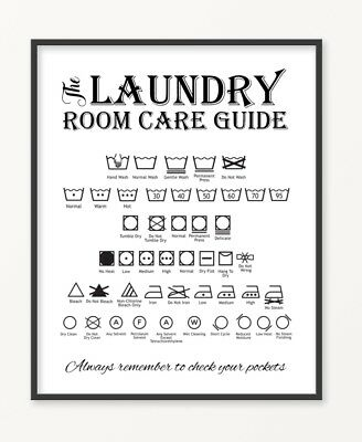 LAUNDRY CARE GUIDE Print Poster, Utility Room, Washing Symbols