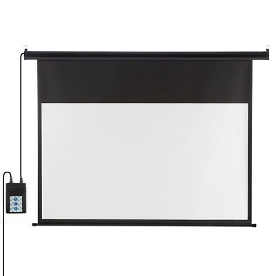 """New 100"""" 16:9 Wall Ceiling Electric Motorized HD Projector Screen Cinema Theater"""