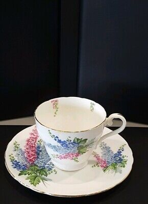 AYNSLEY Bone China Red/Blue Flowers White Teacup and Saucer, Gold Trim #28