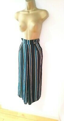 a5f981cc1f Pull & Bear Green Striped Tapered Paperbag High Waisted culottes Trousers  ...