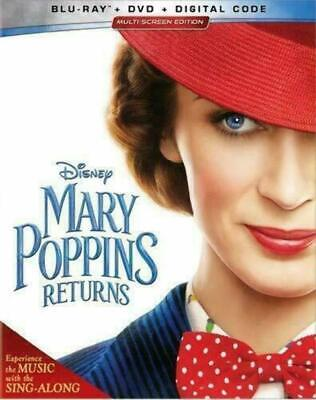 Mary Poppins Returns (Blu-ray/DVD/Digital Code, 2019) Like New with Slipcover