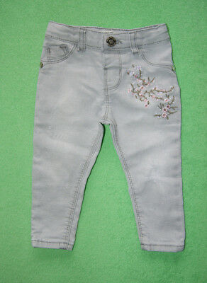 River Island grey denim jeans with flowers for girl 6-9 months 74cm