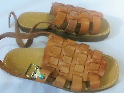 Vintage Leather Woven Sandals Shoes Made in Italy sz 8 Dead Stock