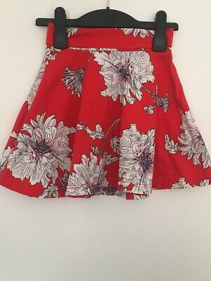 Girls Joules Red Floral Flare Skirt Size 5yrs. 100% Cotton A6