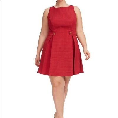 de71c5f5 Modcloth So sixties Red A Line Pleat Dress Embossed squares Plus Size 4XL  NWOT